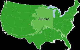 مقایسه وسعت آلاسکا بزرگترین ایالت آمریکا با وسعت ۴۸ ایالت این کشور (به جز هاوایی و آلاسکا).