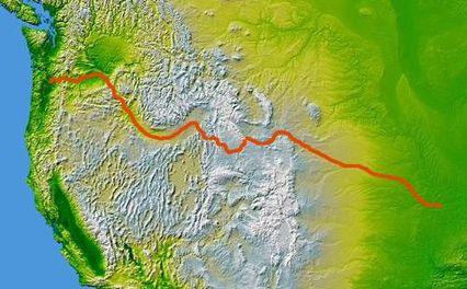 مسیر اورگن، موقعیت ایلینوی، آیووا، میزوری، کانزاس، نبراسکا، وایومینگ، آیداهو، اورگن