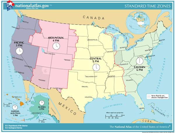مناطق زمانی آمریکا
