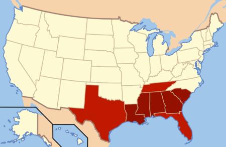 ایالتهای به رنگ قرمز پررنگ امروزه تشکیل دهندهٔ جنوب عمیق هستند. نواحی مجاور شرق تگزاس، غرب تنسی و شمال فلوریدا نیز بخشی از این زیرمنطقه لحاظ میشوند. به طور تاریخی، همهٔ این ایالات در ایالات مؤتلفه آمریکا واقع بودند.