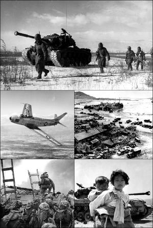ساعتگرد از پایین: نیروهای سازمان ملل به مرز ۳۸ درجه رسیدند، هواپیمای اف-۸۶ سیبر در جنگ کره، بندر اینچئون نقطه آغازین نبرد اینچئون، استقبال از سربازان چینی هنگام بازگشت به چین، ستوان بالدمرو لوپز در بالای دیوار دریایی اینچئون چند دقیقه پیش از مرگش.
