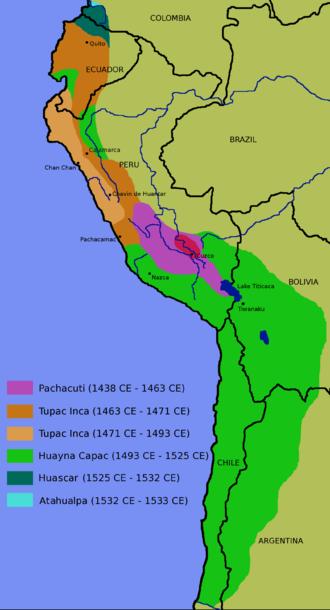 گسترهٔ امپراتوری اینکا (۱۴۳۸–۱۵۲۷).
