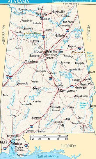 نقشهٔ شهرهای بزرگ، جادهها، دریاچهها و رودخانهها در آلاباما.
