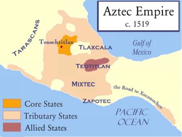 امپراتوری آزتک هنگام حمله اسپانیاییها در حدود سال ۱۵۱۹