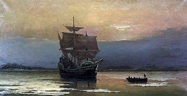 تصویری از کشتی میفلاور در بندر پلیموث در بوستون. این واقعه امروزه یک نقطه مهم در تاریخ آمریکا محسوب میگردد.