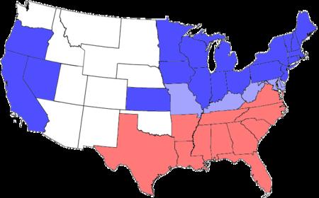 نقشه سیاسی آمریکا در حین جنگ داخلی. ایالتهای جنوبی، با رنگ قرمز و ایالتهای شمالی با رنگ آبی نشان داده شدهاند. رنگ آبی کمرنگ، برای ایالتهای شمالی است که هنوز بردهداری را ممنوع نکرده بودند و ایالاتی که هنوز عضو ایالات متحده نبودند، با رنگ سفید نشان داده میشوند.