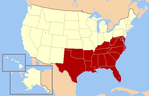 موقعیت ایالتهای جنوبی آمریکا در نقشه