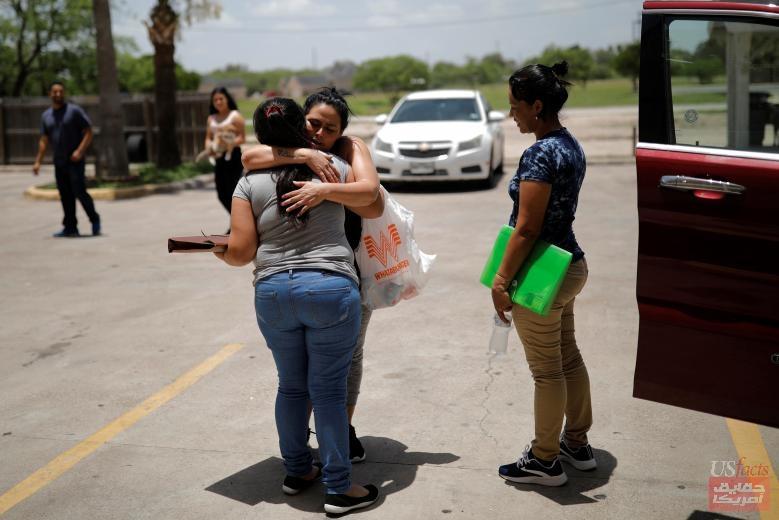 Isabela, an asylum seeker from El Salvador, hugs Lesvia, an other asylum seeker from Guatemala as she leaves a motel in Brownsville, Texas