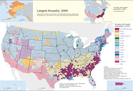 نقشهٔ پراکندگی مردمی آمریکا از نظر نژاد و نسب قومی (همهپرسی رسمی سال ۲۰۰۰)