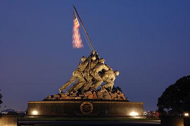 یادبود نبرد ایو جیما در جنگ جهانی دوم در شمال ایالت ویرجینیا