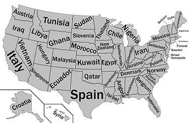 مقایسهٔ تولید ناخالص داخلی ایالتهای آمریکا با کشورهای دیگر در سال ۲۰۱۲. ایالت تنسی در این سال تولید ناخالصی اش قابل مقایسه با کشور قزاقستان (طبق نقشه) بودهاست.