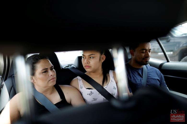 Isabela, an asylum seeker from El Salvador, her 17-year-old daughter Dayana and her partner Carlos leave Brownsville, Texas