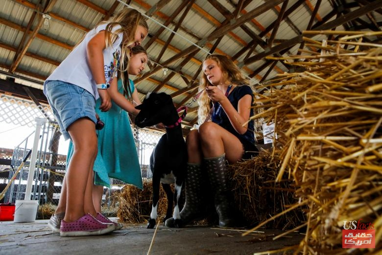 Girls pet a goat as people attend the New Jersey State Fair in Augusta, New Jersey