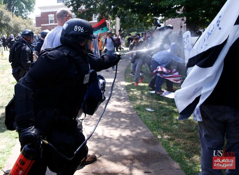 Virginia State Police use pepper spray as they move in to clear a clash between members of white nationalist protesters against a group of counter-protesters in Charlottesville