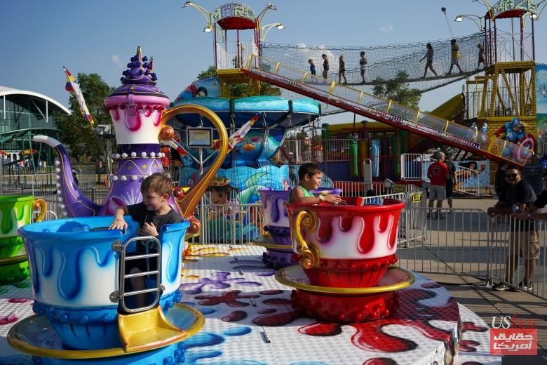 Children play during a carnival at the Iowa State Fair in Des Moine