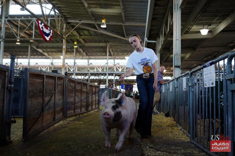 Reagan Gibson of Panora walks with a pig at the Iowa State Fair in Des Moines