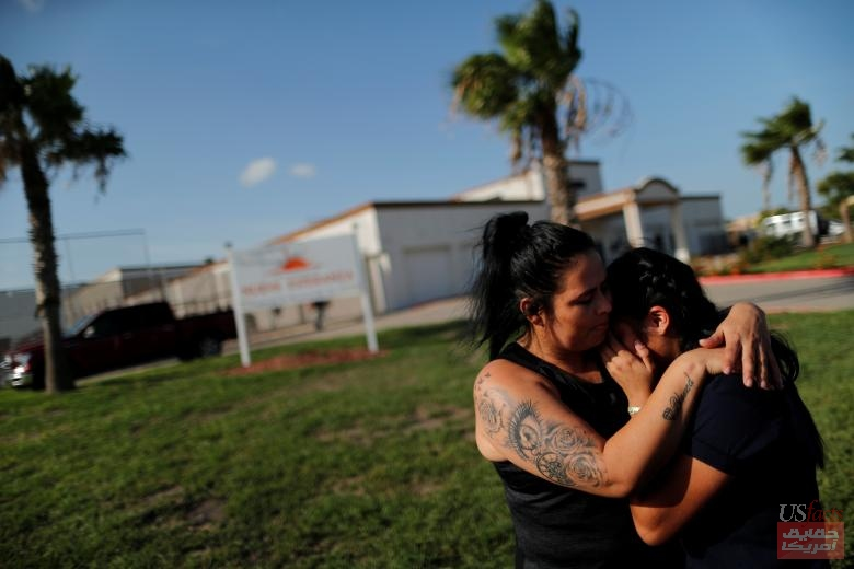 Isabela, an asylum seeker from El Salvador, hugs her 17-year-old daughter Dayana outside of Casa Esperanza, a federal contracted shelter in Brownsville, Texas