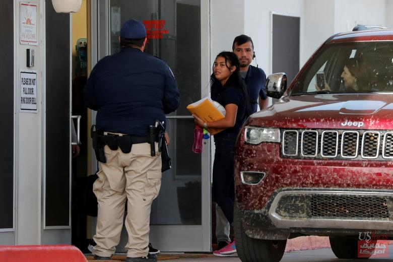 Dayana, a 17-year-old asylum seeker leaves Casa Esperanza, a federal contracted shelter, in Brownsville, Texas