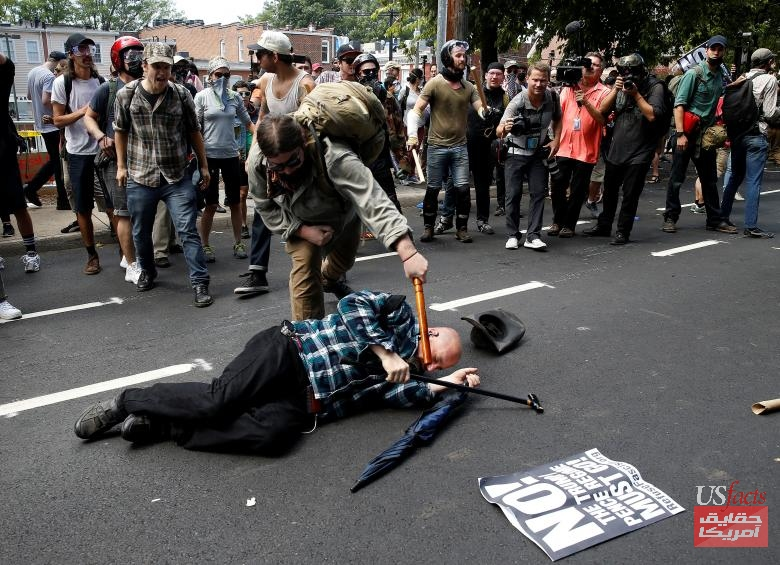 Counter demonstrators attack a white supremacist during a rally in Charlottesville, Virginia