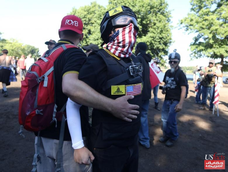 A right-wing supporter of the Patriot Prayer group yells at counter-demonstrators during a rally in Portland
