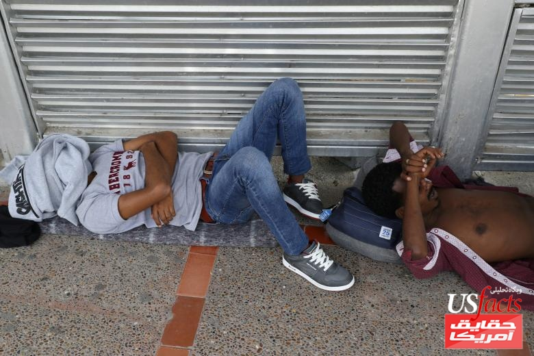 Eritrean men seeking asylum wait on the Mexican side of the Brownsville-Matamoros International Bridge after being denied entry by U.S. Customs and Border Protection officers near Brownsville