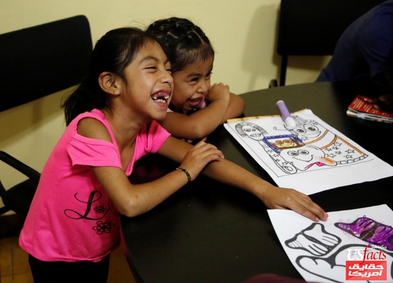 Children Mayra Gregorio and Filomena Jacinto are pictured after being sent back from detention on Tuesday, after they were separated from their parents at the U.S. border, in Guatemala City