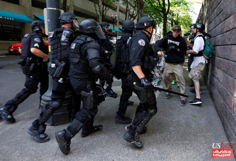 Police charge counter protestors during a rally by the Patriot Prayer group in Portland