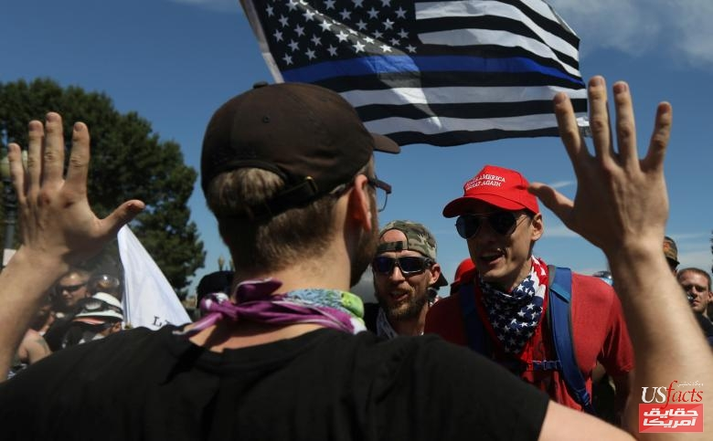 Right-wing supporters of the Patriot Prayer exchange words with a counter-demonstrator during a rally in Portland