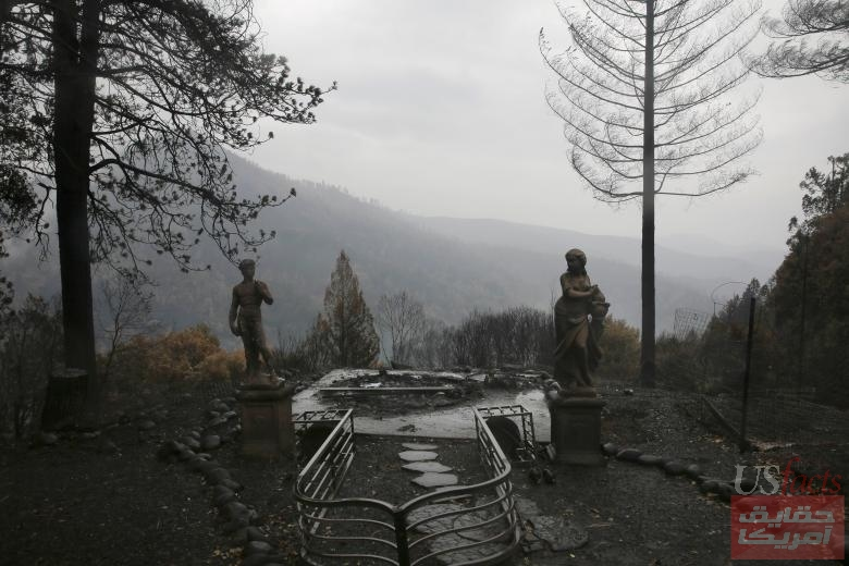 Statues are seen on a property damaged by the Camp Fire in Paradise