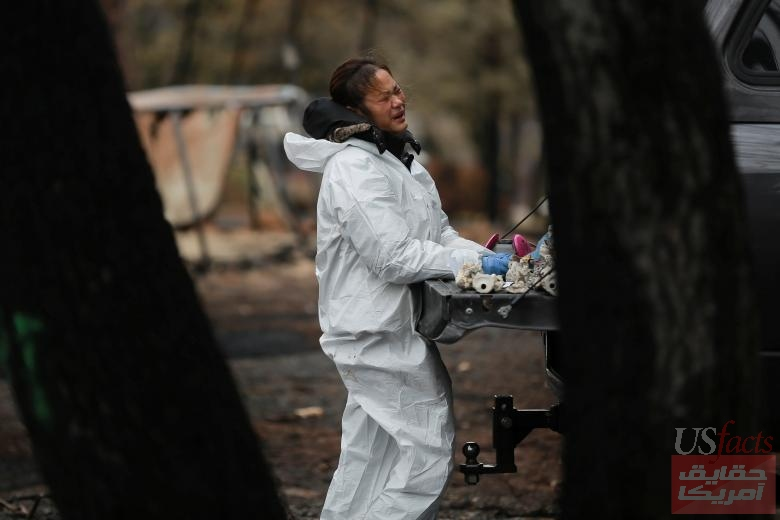 Vanthy Bizzle becomes emotional after returning to the remains of her home for the first time since the Camp Fire forced her to evacuate in Paradise