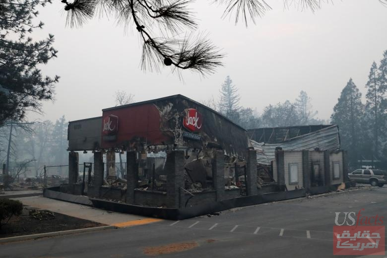 A Jack In The Box restaurant damaged by the Camp Fire is seen in Paradise