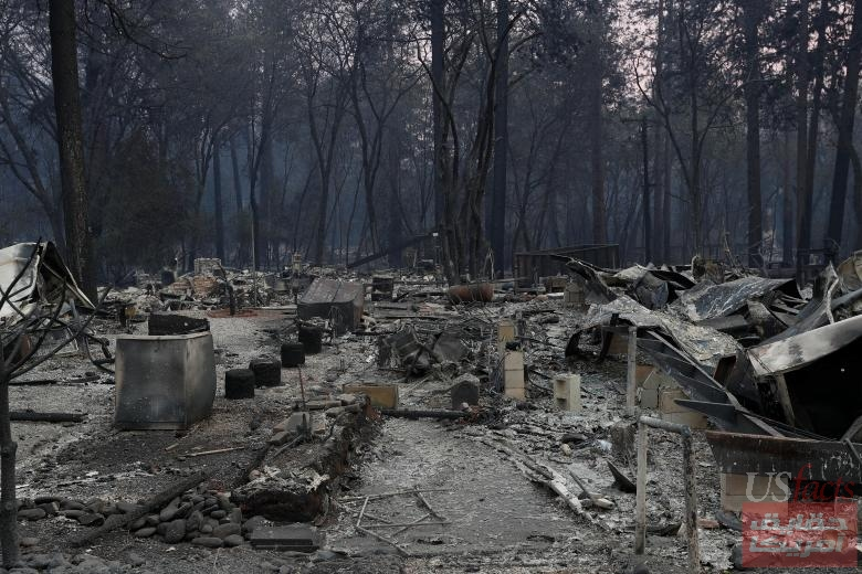 A view of homes destroyed by the Camp Fire are seen in Paradise, California