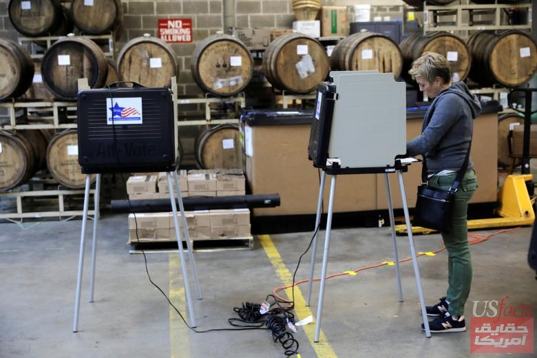 Voters cast their ballots at in the midterm election at the Half Acre brewery in Chicago