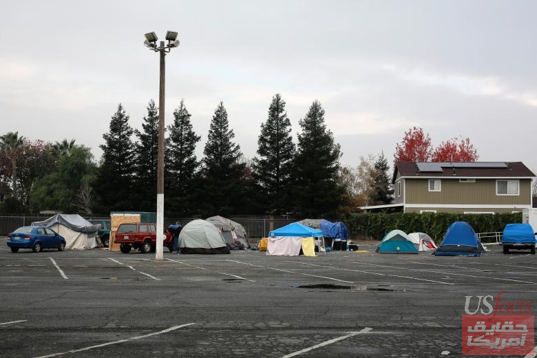 A general view of tents at the Glenn County Fairgrounds in Orland
