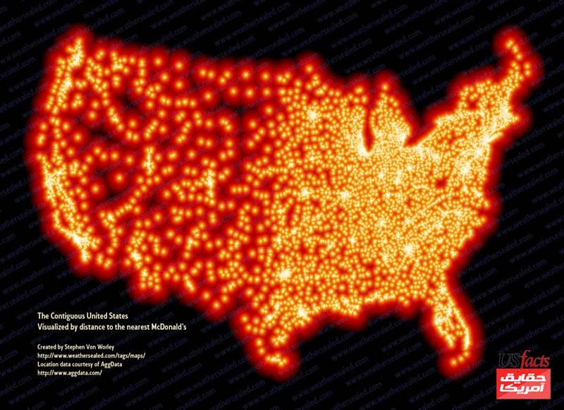 The Continental United States: Visualized By Distance To The Nearest McDonald's
