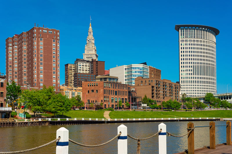 Riverfront downtown Cleveland