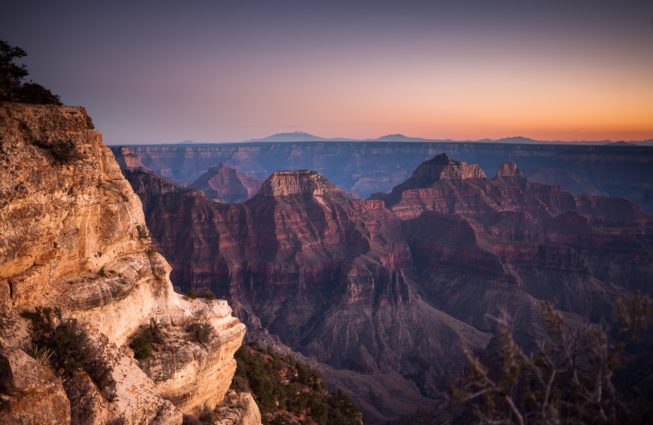 Colorful Sunset from Grand Canyon North Rim